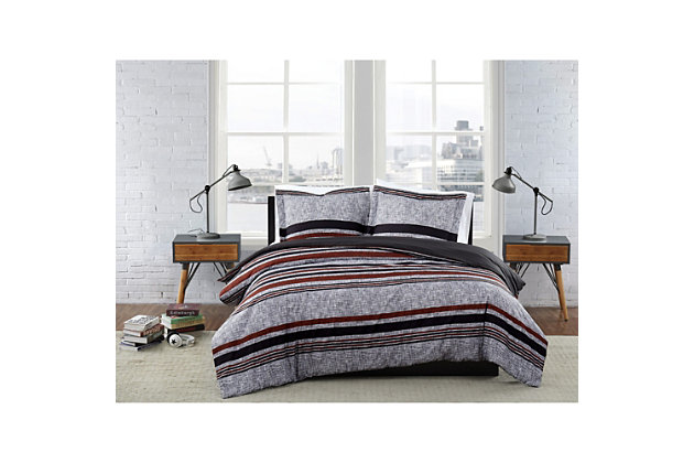 London Fog Warren Stripe 2-Piece Twin XL Comforter Set, Gray/Black, large