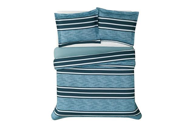 London Fog Mitchell Stripe 2-Piece Twin XL Comforter Set, Blue, large