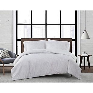 London Fog Sasha Paisley 2-Piece Twin XL Comforter Set, White/Neutral, rollover