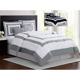 London Fog Raynes Hotel 5-Piece Queen Comforter Set, White/Gray, large
