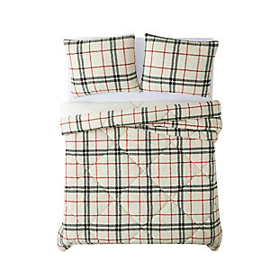 London Fog Popcorn Plaid Plush 3-Piece King Comforter Set, Black/Red, large