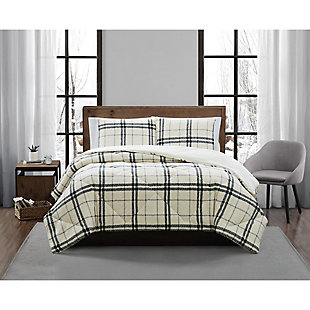 London Fog Popcorn Plaid Plush 3-Piece King Comforter Set, Charcoal/Gray, large