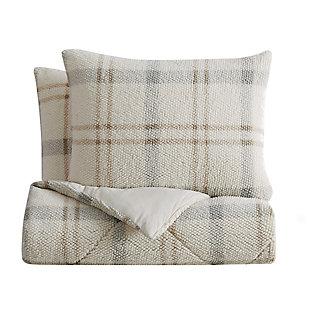 London Fog Popcorn Plaid Plush 3-Piece King Comforter Set, Gray/Neutral, large