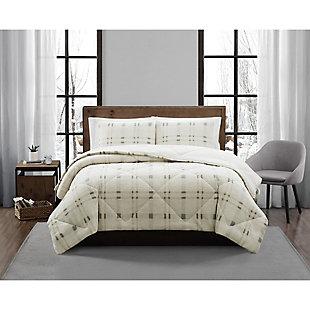 London Fog Popcorn Plaid Plush 2-Piece Twin/Twin XL Comforter Set, Gray/Neutral, large