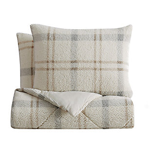 London Fog Popcorn Plaid Plush 2-Piece Twin/Twin XL Comforter Set, Gray/Neutral, large