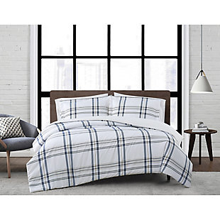 London Fog Kent Plaid 2-Piece Twin XL Duvet Set, White/Blue, rollover