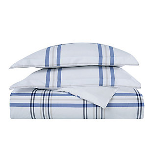 London Fog Kent Plaid 2-Piece Twin XL Duvet Set, White/Blue, large