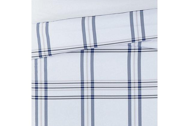 London Fog Kent Plaid 2-Piece Twin XL Duvet Set, White/Blue, large