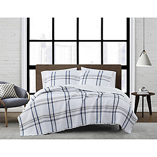 London Fog Kent Plaid 2-Piece Twin XL Quilt Set, White/Blue, rollover