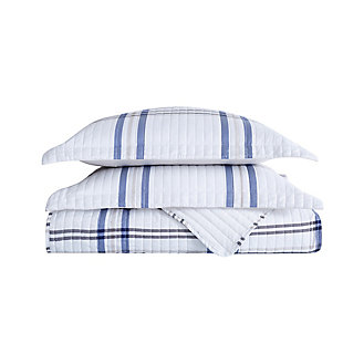 London Fog Kent Plaid 2-Piece Twin XL Quilt Set, White/Blue, large