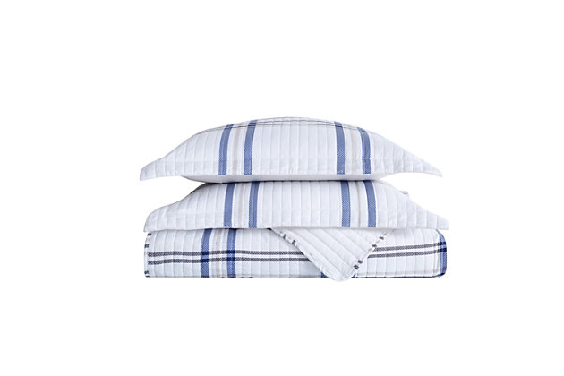 London Fog Kent Plaid 2-Piece Twin XL Quilt Set, White/Blue, large