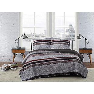 London Fog Warren Stripe 2-Piece Twin XL Quilt Set, Gray/Black, rollover
