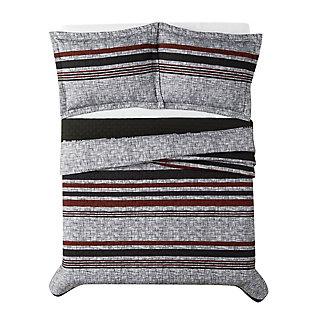 London Fog Warren Stripe 2-Piece Twin XL Quilt Set, Gray/Black, large