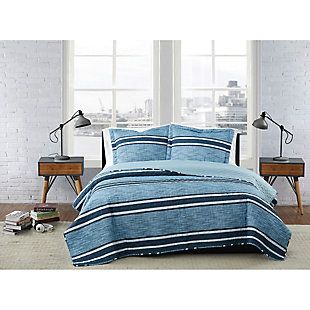 London Fog Mitchell Stripe 2-Piece Twin XL Quilt Set, Blue, rollover