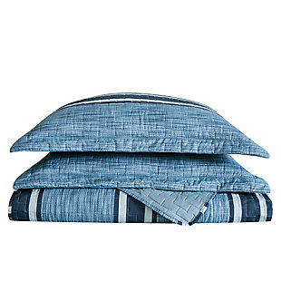 London Fog Mitchell Stripe 2-Piece Twin XL Quilt Set, Blue, large