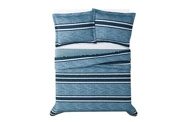 London Fog Mitchell Stripe 2-Piece Twin XL Quilt Set, Blue, large