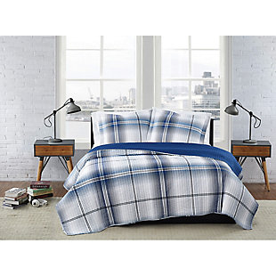 London Fog Nolan Houndstooth Stripe 2-Piece Twin XL Quilt Set, White/Black, rollover