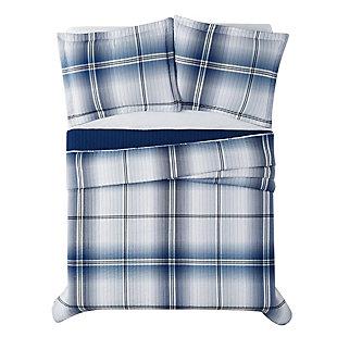 London Fog Nolan Houndstooth Stripe 2-Piece Twin XL Quilt Set, White/Black, large