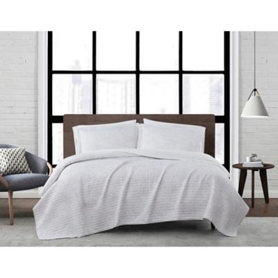 London Fog Sasha Paisley 2-Piece Twin XL Quilt Set, White/Neutral, large
