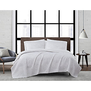 London Fog Sasha Paisley 2-Piece Twin XL Quilt Set, White/Neutral, rollover