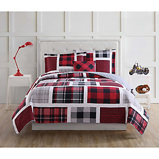 My World Buffalo Plaid 3-Piece Twin Quilt Set, Black/Red, rollover
