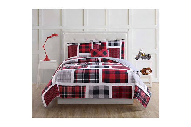 My World Buffalo Plaid 3-Piece Twin Quilt Set, Black/Red, large