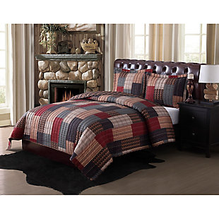 Remington Gunnison 2-Piece Twin Quilt Set, Burgundy/Navy, rollover