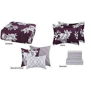 Style 212 Peony Garden Floral 12-Piece Queen Bed in a Bag, Purple/Gray, large