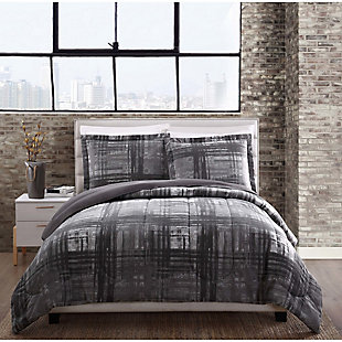 Style 212 Camden Plaid 2-Piece Twin Comforter Set, Charcoal, rollover