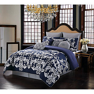 Style 212 Dolce King 10-Piece Queen Comforter Set, Silver/Navy, rollover