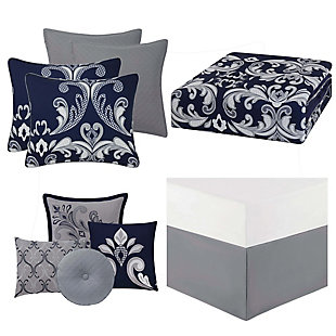 Style 212 Dolce King 10-Piece Queen Comforter Set, Silver/Navy, large
