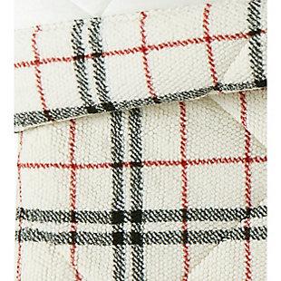 London Fog Popcorn Plaid Plush Twin/Twin XL Blanket, Black/Red, large