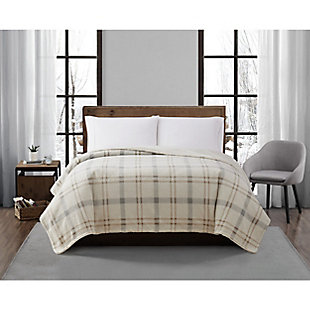 London Fog Popcorn Plaid Plush Twin/Twin XL Blanket, Gray/Neutral, rollover