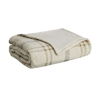 London Fog Popcorn Plaid Plush Twin/Twin XL Blanket, Gray/Neutral, large