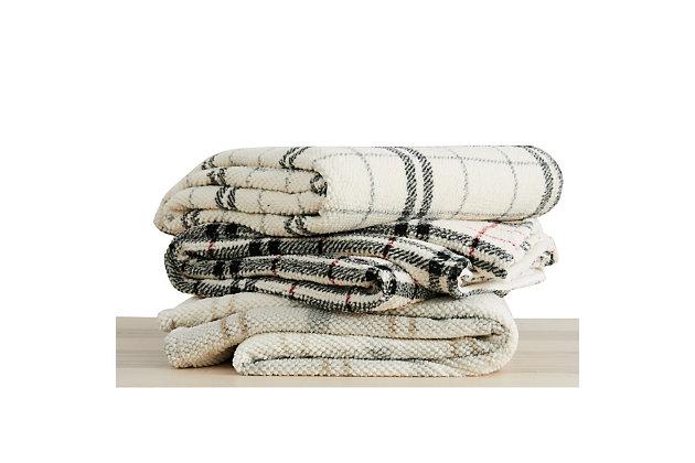 London Fog Popcorn Plaid Plush Twin/Twin XL Blanket, Gray/Neutral, large