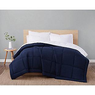 London Fog Super Soft King Down Alternative Comforter, Navy/White, large