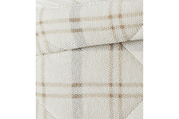 London Fog Popcorn Plaid Plush 50x60 Throw, Gray/Neutral, large