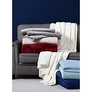 Truly Soft Velvet Plush Throw, Gray, rollover
