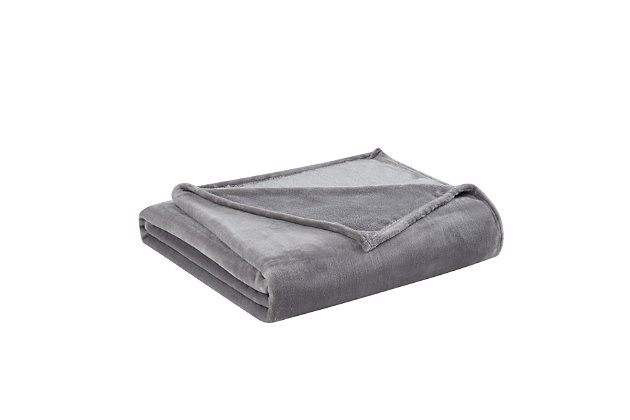 Truly Soft Velvet Plush Throw, Gray, large