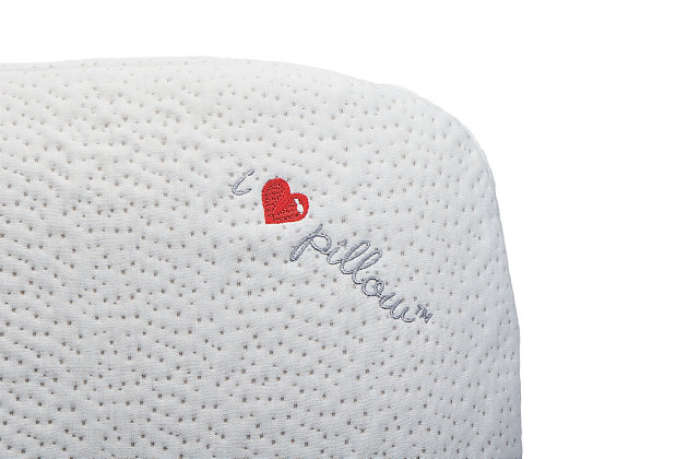 I Love Pillow Low Profile Queen Rayon From Bamboo Pillow, White, large
