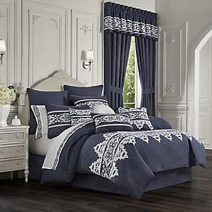 Five Queens Court Shelburne Queen 4 Piece Comforter Set, Indigo, rollover