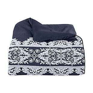 Five Queens Court Shelburne Queen 4 Piece Comforter Set, Indigo, large