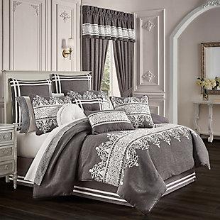 J. Queen New York Flint Queen 4 Piece Comforter Set, Charcoal, rollover