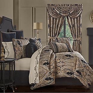 J. Queen New York Lauretta Queen 4 Piece Comforter Set, Black, rollover