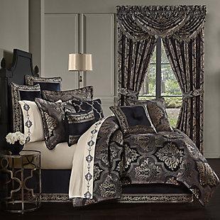 J. Queen New York Windham Queen 4 Piece Comforter Set, Black, rollover