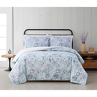 Cottage Classics Charlotte Floral 2 Piece Twin/Twin XL Comforter Set, Blue, rollover