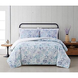Cottage Classics Charlotte Floral 3 Piece Full/Queen Duvet Set, Blue, rollover