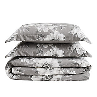 Cottage Classics Rochelle Floral 2 Piece Twin/Twin XL Comforter Set, Gray, large