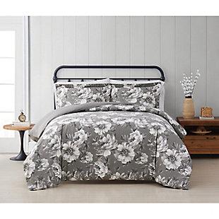 Cottage Classics Rochelle Floral 3 Piece Full/Queen Duvet Set, Gray, rollover