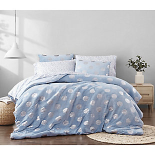 Material Girl Metallic Dot Blue Twin 5 Piece Bed in a Bag, Blue, rollover